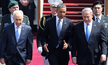 Barack Obama with Shimon Peres and Binyamin Netanyahu