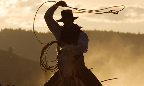 Cowboy throwing lasso