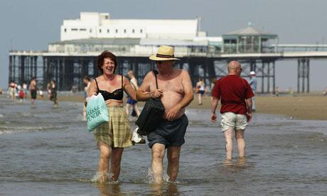 Blackpool beach: where brave folk bathe