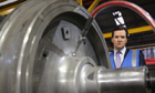 Chancellor George Osborne tours a train wheel factory in Manchester