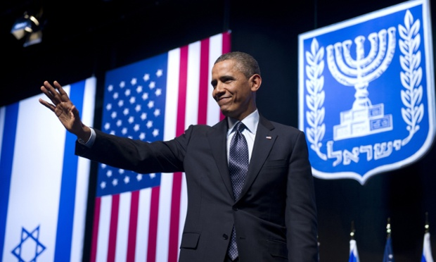 US president Barack Obama waves after delivering a major speech at the Convention Center in Jerusalem.