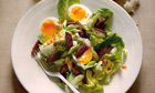 Hugh Fearnley-Whittingstall's salad of lettuce, chorizo and soft-boiled eggs