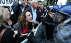 Tensions are rising as bank workers protest outside the parliament in Nicosia, Cyprus