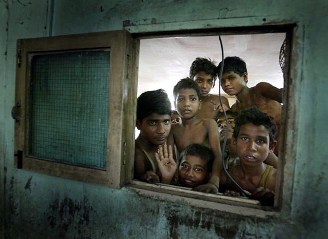 Modern slavery: Indian boys in an embroidery workshop in Bombay