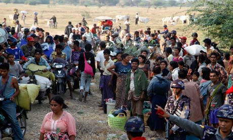 People fleeing ethnic violence in Burma