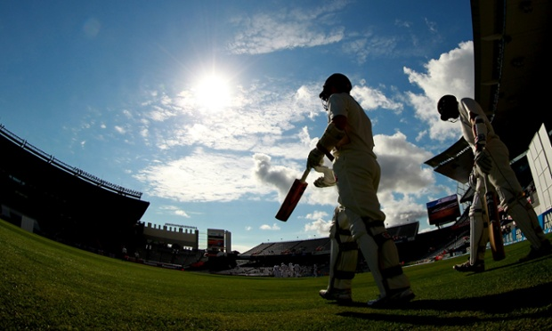 The batsmen come out for the second day's play in the third Test between England and New Zealand.