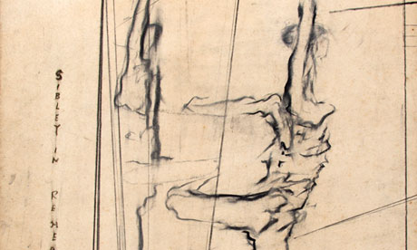 Sibley in rehearsal, a charcoal drawing by Isabel Rawsthorne
