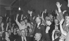 The Spirit of 45 film still: Clem Attlee cheered after winning election