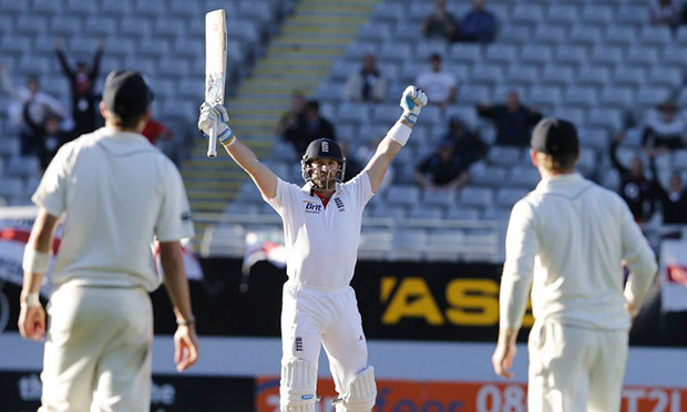 Matt Prior celebrates saving the Test against New Zealand.
