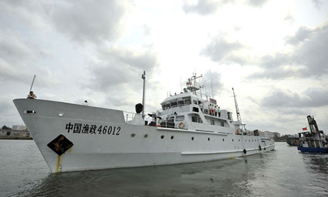 A Chinese patrol boat departing for the Paracel Islands