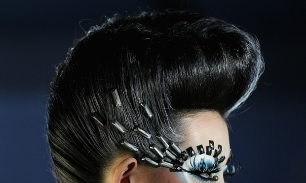You can't beat a good quiff!  A model on the catwalk during MGPIN Make-up Styling Collection on the fourth day of Mercedes-Benz China Fashion Week Autumn/Winter 2013/2014 in Beijing, China.