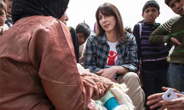 Save the Children's Ambassador Samantha Cameron meets a Syrian mother whose baby is suffering from a broken leg in a refugee settlement in Lebanon, close to the Syria border.   She is in Lebanon to help raise awareness of the ordeal facing women and children caught up in the conflict.