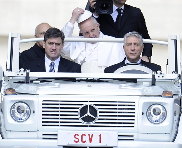 If i was driving the Popemobile with Pope Francis in it around St. Peter's Square, I'd keep my eyes open at all times.