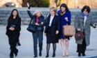 Edith Windsor, second left, arrives at the supreme court in Washington on Wednesday morning as the court is to hear arguments in her case against on the constitutionality the 1996 Defense of Marriage Act.