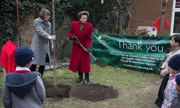 But he didn't have the honour. That went to Princess Anne. She planted it.