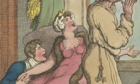 Detail from a caricature showing a man watching a comet while his wife enjoys the attentions of another man