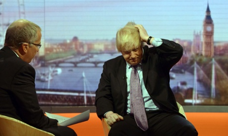 Boris Johnson being interviewed by Eddie Mair on the Andrew Marr show on Sunday.