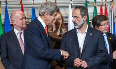 British foreign secretary William Hague with US Secretary of State John Kerry, and Syrian opposition lead  Moaz al-Khatib at last Thursday's Friends of Syria meeting in Rome.