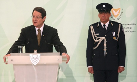 Newly elected Cypriot President Nicos Anastasiades being sworn in last Friday - now he must agree the terms of a bailout.