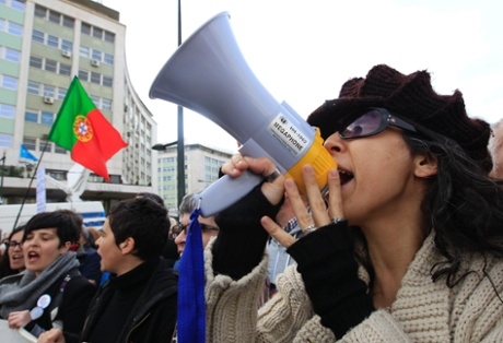Demonstrators shout during a march against government austerity policies in central Lisbon March 2, 2013.
