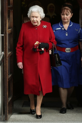 Queen Elizabeth II leaves King Edward VII Hospital in London, where
