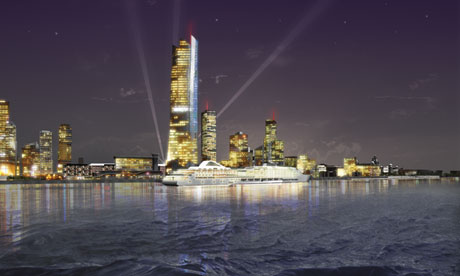 Artist's night impression of designs for Liverpool Waters