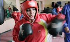 Sadaf Rahimi practising at a boxing club in Kabul