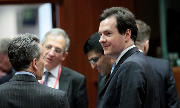 British Chancellor of the Exchequer, George Osborne (R) chats with Italian Finance minister Vitorrio Grilli (L) during the ecofin Finance Ministers meeting at the EU council headquaters in Brussels, Belgium, 05 March 2013.