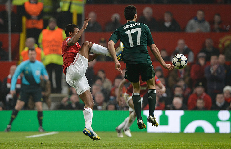 Nani fouls Alvaro Arbeloa and is sent off
