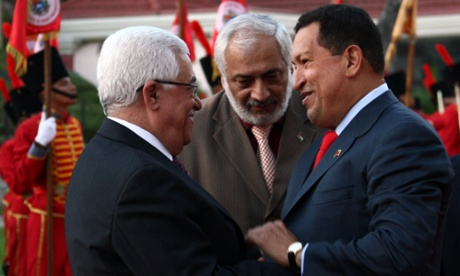 Hugo Chavez with Mahmoud Abbas