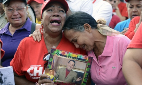 Hugo Chavez supporter mourns in Caracas