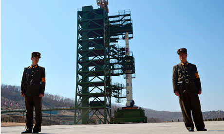 North Korean soldier guard Unha-3 rocket