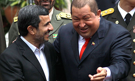 Mahmoud Ahmadinejad with Hugo Chávez in 2012