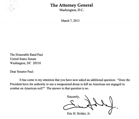 Holder's letter to Rand Paul