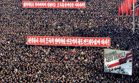 A North Korean rally held after the threat to launch a nuclear strike against the US