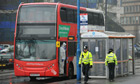 Officers examine the bus on Hagley Road, Birmingham, on which Christina Edkins was stabbed to death