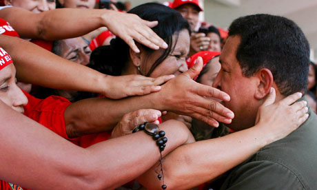 Former Venezuela President Hugo Chavez with his supporters in 2009
