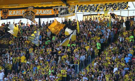 A Bundesliga match between Alemannia Aachen and FSV Frankfurt at Tivoli Stadium, Aachen