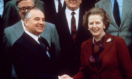 Margaret Thatcher and Mikhail Gorbachev in 1984.