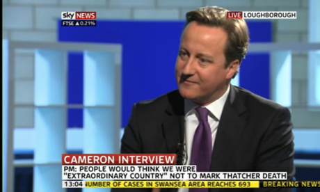 David Cameron being interviewed on Sky
