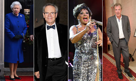 The Queen, Jeffrey Archer, Dame Shirley Bassey and Jeremy Clarkson