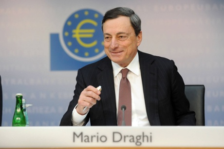 Mario Draghi, president of the European Central Bank (ECB), speaks during a news conference at the bank's headquarters on April 4, 2013 in Frankfurt, Germany.