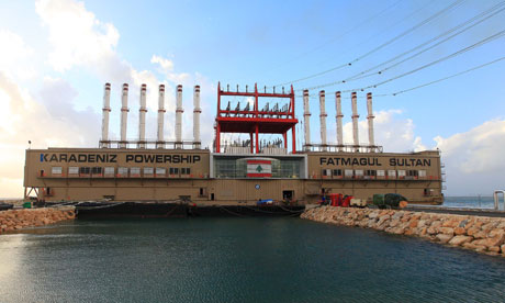 The 'power ship' moored off Beirut, which is providing electricity for Lebanon