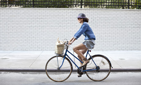 Woman cycling in New York