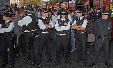Police officers form a cordon in London