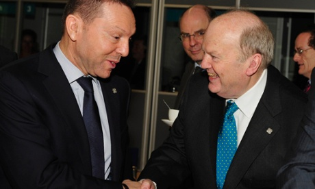 Irish finance minister Michael Noonan (right) and Greek finance minister Ioannis Stournaras at the Dublin meetings.