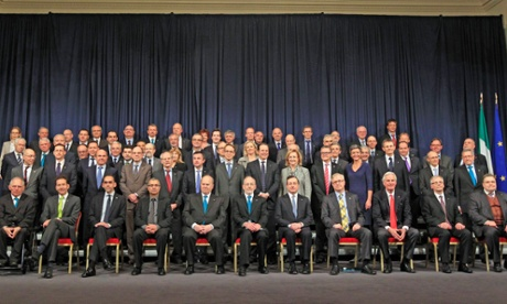European finance ministers poses during their meeting in Dublin.