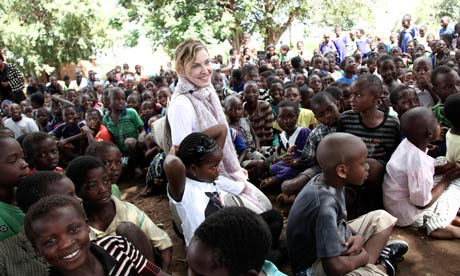 Madonna visiting school children in Chorwe, Malawi