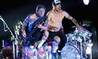 Flea and Anthony Kiedis of Red Hot Chili Peppers onstage at the Empire Polo Club for Coachella on 14