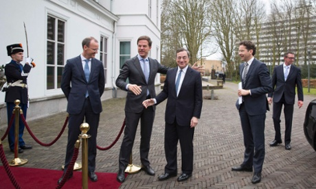 Mario Draghi met De Nederlandsche Bank President Klaas Knot (2nd L), Dutch PM Mark Rutte (centre L) and Eurogroup President Jeroen Dijsselbloem (2nd R) in The Hague today. Photograph: REUTERS